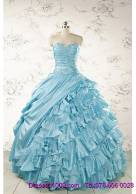Fashionable Beading Aqua Blue Quinceanera Dresses for 2015