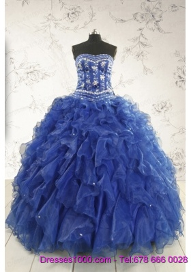Beautiful Beading and Ruffles Quinceanera Dresses in Royal Blue