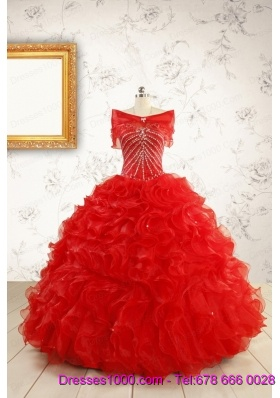 Exquisite Beading and Ruffles Red Quinceanera Gowns with Wrap for 2015