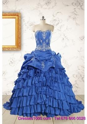 Modern Brush Train Appliques Sweet 15 Dresses in Royal Blue