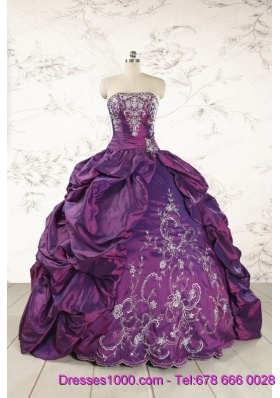 Purple Strapless 2015 Quinceanera Dresses with Embroidery