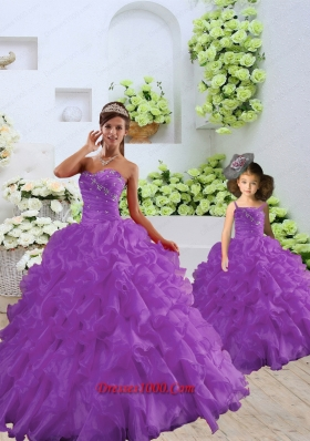 Trendy Purple Princesita Dress with Beading and Ruffles for 2015 Spring