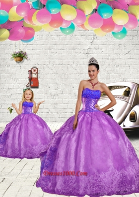 2015 Luxurious Beading and Embroidery Princesita Dress in Purple