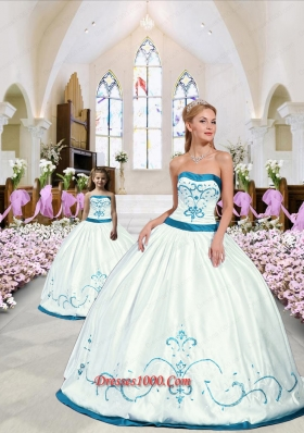 2015 Modest Embroidery White and Blue Princesita Dress 265.89