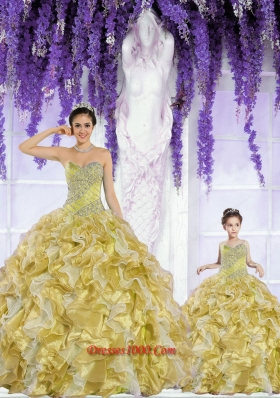 2015 Popular Organza Beading and Ruffles Gold Princesita Dress