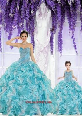 Beautiful Organza Beading and Ruffles Princesita Dress in Aqua Blue