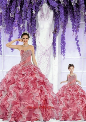 Beautiful Organza Beading and Ruffles Rust Red Princesita Dress