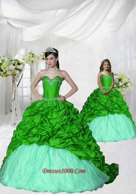 Trendy Appliques Brush Train Spring Green Princesita Dress for 2015 Spring