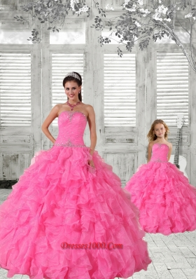Beading Strapless Hot Pink Princesita Dress with Ruffles and Ruching