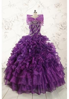 Beautiful Appliques Purple Strapless 2015 Quinceanera Dresses