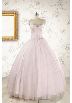 2015 Pretty Beading Light Pink Quinceanera Dresses