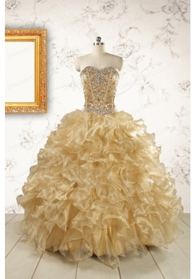Luxurious Champagne Quinceanera Dresses with Beading
