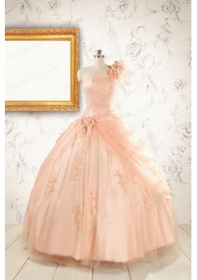 2015 Pretty One Shoulder Appliques Quinceanera Dress in Peach
