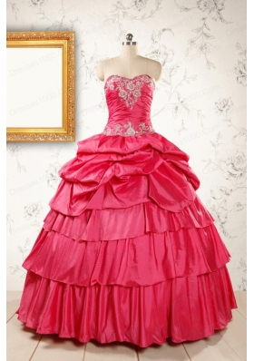 Most Popular Coral Red Sweet 16 Dresses with Appliques