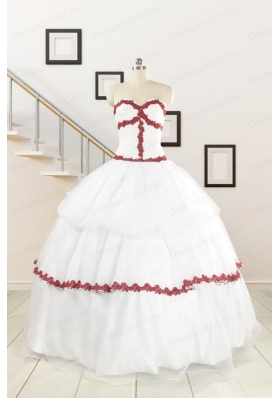 2015  Sweetheart Ball Gown Quinceanera Dresses with Appliques