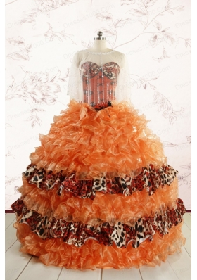 Beautiful Orange Quinceanera Dresses with Ruffles