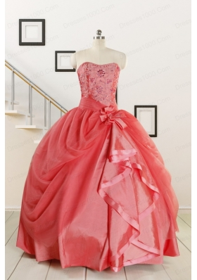 Cheap Strapless Ball Gown Quinceanera Dresses in Watermelon for 2015