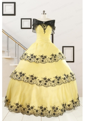 Pretty Ball Gown Appliques Quinceanera Dress for 2015