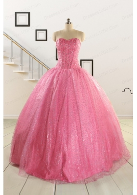 Simple Sweetheart Sequins Quinceanera Dress in Rose Pink For 2015