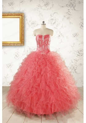 Watermelon Red Exquisite Quinceanera Dresseswith Appliques and Ruffles