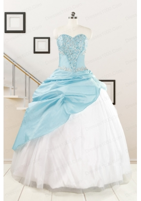 Pretty Beading Blue and White Quinceanera Dresses for 2015