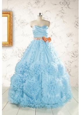 Unique Beading Aqua Blue Quinceanera Dresses for 2015