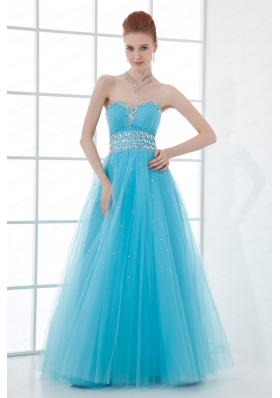 2015 Tulle A-line Sweathert Beading Baby Blue Belt Prom Dress