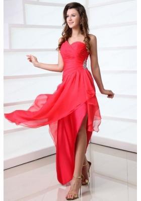 Coral Red Column Chiffon One Shoulder High-low Beading Chiffon Prom Dress