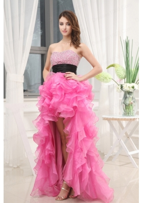 Hot Pink Strapless Belt Beading Ruffles High-Low Organza Prom Dress for 2015