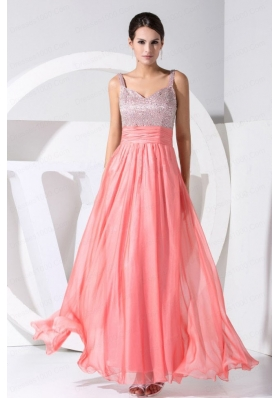 Beading Decorate Bodice Straps Ankle-length Straps 2015 Prom Dress Watermelon Red
