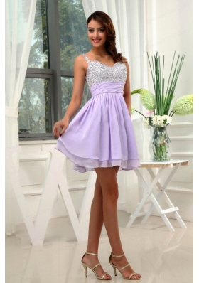 Beading Straps Chiffon Mini-length A-Line Lilac Prom Dress