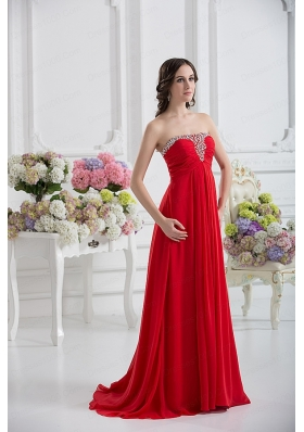 Beautiful Strapless Empire Beading Ruching Prom Dress in Red
