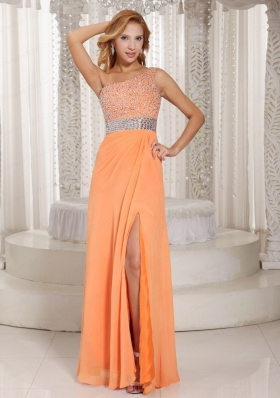 One Shoulder High Slit Zipper 2015 Orange Prom Dress with Beaded Decorate