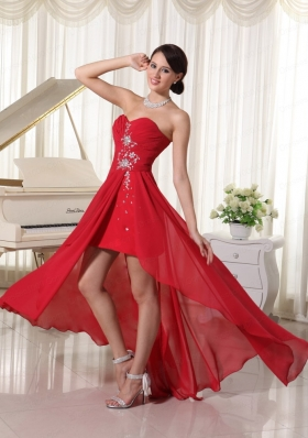 Red Sweetheart Ruching and Beading Prom Dress with High Low