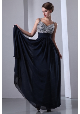 2015 Navy Blue Straps Chiffon Beading Prom Dress with Sweetheart
