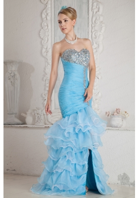 2015 Sky Blue Mermaid High Low Prom Dress with Ruffles and Beading