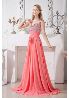 2015 Spaghetti Straps Chiffon Brush Train Prom Dress in Watermelon Red