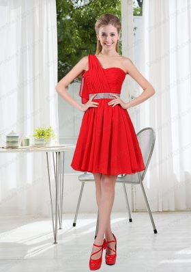 2015 The Most Popular One Shoulder A Line Prom Dresses with Ruching