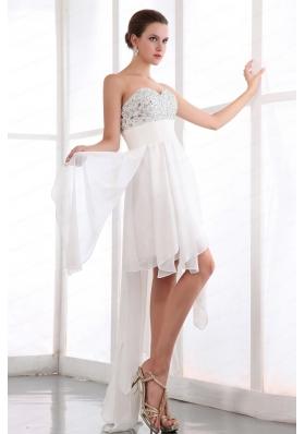 Beading White Empire Sweetheart Prom Dress for 2015