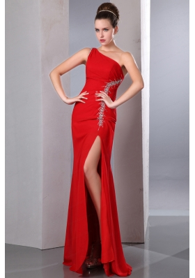 Beautiful Beading  Red One Shoulder Prom Dress for 2015