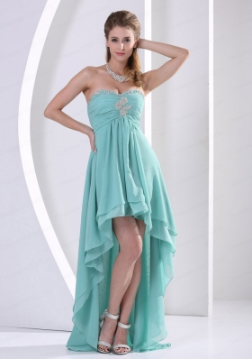 Custom Made High Low Prom Dress Turquoise Beading and Ruching  for 2015