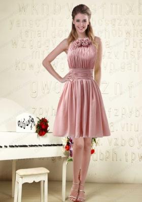 Halter Ruching and Handmade Flowers Empire Chiffon Prom Dresses