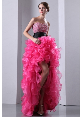 Ruffled High Low Hot Pink A-line Sweetheart Beading Pageant Dress for 2015