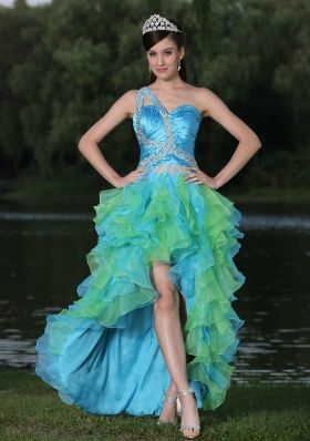 Ruffled High-low Multi-color One Shoulder Sweetheart Beaded Prom Dress