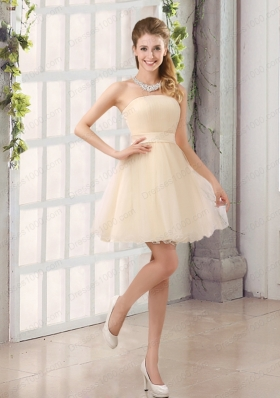 2015 A Line Belt Mini Length Prom Dress with Strapless