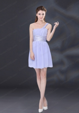 2015 Ruching and Belt Chiffon Prom Dress in Lavender