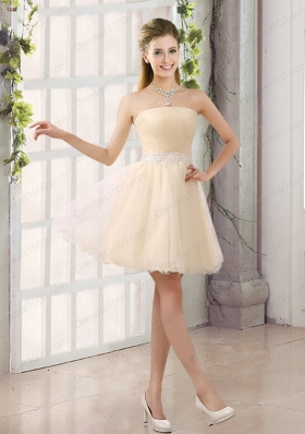 2015 Appliques Strapless A Line Mini Length Prom Dress