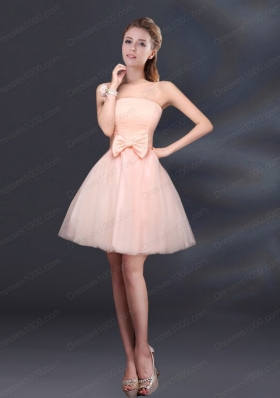 2015 Bowknot A Line Strapless Prom Dress with Lace Up
