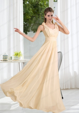 2015 Modest V Neck Empire Ruching Prom Dress