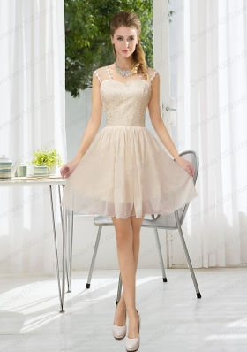 Straps Lace Sleeveless Prom Dress with Mini Length